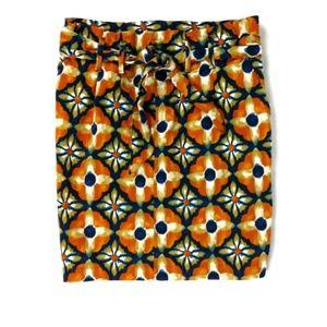 Zara geometric watercolor tie belt pencil skirt